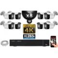 Kit Vidéo Surveillance PRO IP 8x Caméras POE Tubes IR 40M Capteur SONY UHD 4K + Enregistreur NVR 12 canaux H265+ UHD 4K 3000 Go