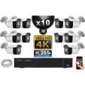 Kit Vidéo Surveillance PRO IP 10x Caméras POE Tubes IR 30M Capteur SONY UHD 4K + Enregistreur NVR 30 canaux H265+ UHD 4K 3000 Go