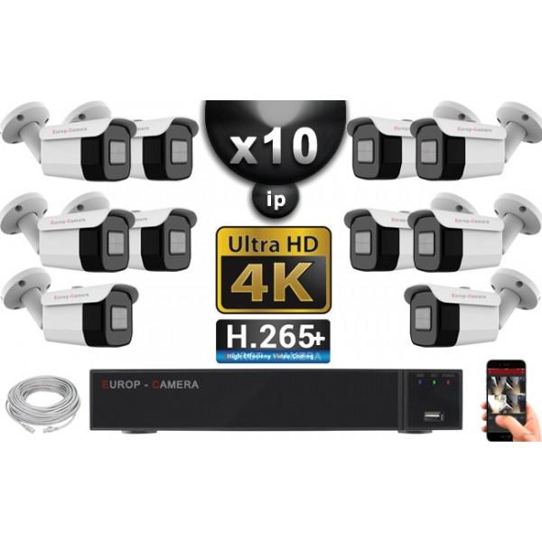 Kit Vidéo Surveillance PRO IP 10x Caméras POE Tubes IR 40M Capteur SONY UHD 4K + Enregistreur NVR 30 canaux H265+ UHD 4K 3000 Go