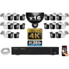 Kit Vidéo Surveillance PRO IP 16x Caméras POE Tubes IR 30M Capteur SONY UHD 4K + Enregistreur NVR 30 canaux H265+ UHD 4K 3000 Go