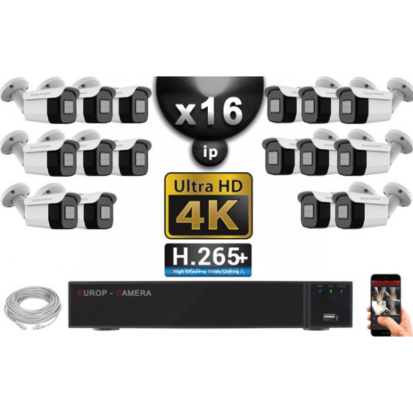 Kit Vidéo Surveillance PRO IP 16x Caméras POE Tubes IR 40M Capteur SONY UHD 4K + Enregistreur NVR 30 canaux H265+ UHD 4K 3000 Go
