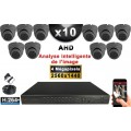 KIT PRO AHD 10 Caméras Dômes IR 20m 4 MegaPixels + Enregistreur XVR 5MP H264+ 3000 Go / Pack vidéo surveillance