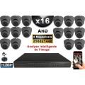 KIT PRO AHD 16 Caméras Dômes IR 20m 4 MegaPixels + Enregistreur XVR 5MP H264+ 3000 Go / Pack vidéo surveillance