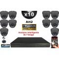 KIT PRO AHD 10 Caméras Dômes IR 35m 4 MegaPixels + Enregistreur XVR 5MP H264+ 3000 Go / Pack vidéo surveillance