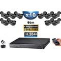 KIT PRO AHD 10 Caméras Tubes IR 60m 4 MegaPixels + Enregistreur XVR 5MP H264+ 3000 Go / Pack vidéo surveillance