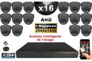 KIT PRO AHD 16 Caméras Dômes IR 35m 4 MegaPixels + Enregistreur XVR 5MP H264+ 3000 Go / Pack vidéo surveillance