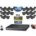 KIT PRO AHD 16 Caméras Tubes IR 40m 4 MegaPixels + Enregistreur XVR 5MP H264+ 3000 Go / Pack vidéo surveillance