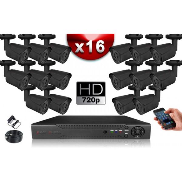 KIT ECO AHD : 16 Caméras Tubes CMOS HD 720P + Enregistreur DVR AHD 2000 Go / Pack de vidéo surveillance