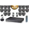 KIT PRO 16 Caméras Dômes 700 TVL + Enregistreur DVR 4000 Go FULL D1 / Pack de vidéo surveillance professionnel