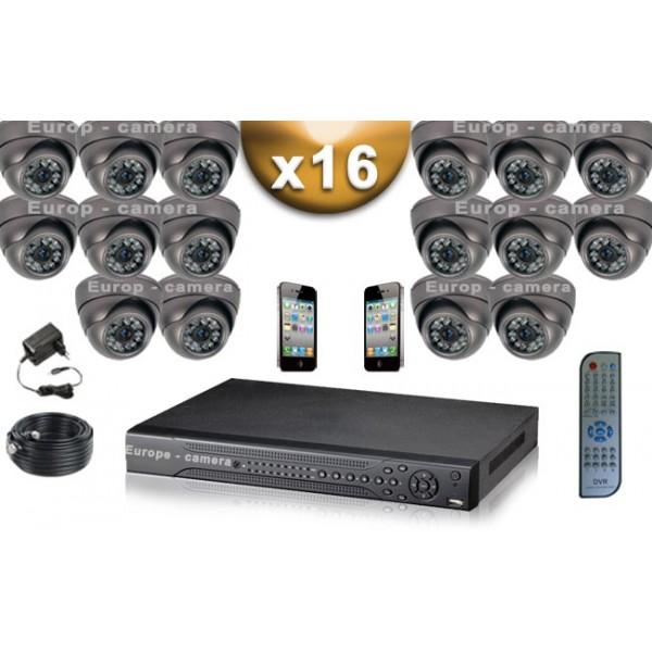 pack video surveillance 16 cameras tubes 700 lignes. Black Bedroom Furniture Sets. Home Design Ideas