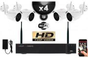 KIT VIDÉO SURVEILLANCE PRO IP : 4X CAMÉRAS TUBES WIFI IR 30M HD 720P + ENREGISTREUR NVR 4 CANAUX WIFI H264 HD 2000 GO