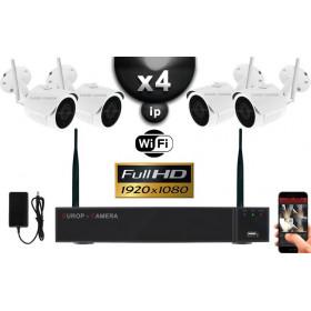 KIT VIDÉO SURVEILLANCE PRO IP : 4X CAMÉRAS TUBES WIFI IR 30M FULL HD 1080P + ENREGISTREUR NVR WIFI H265+ HD 2000 GO