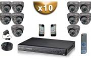 KIT PRO 10 Caméras Dômes 700 TVL + Enregistreur DVR 2000 Go FULL D1 / Pack de vidéo surveillance professionnel