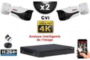 KIT PRO CVI 2 Caméras Tubes IR 40m 8 MegaPixels UHD 4K + Enregistreur CVI 8MP H264+ 1000 Go / Pack de vidéo surveillance