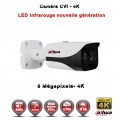 Tube CVI Anti-vandal 8 MegaPixels UHD 4K DAHUA IR 40m étanche réf: EC-CVI4K40 - caméra surveillance