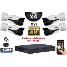 KIT PRO CVI 4 Caméras Tubes IR 40m 8 MegaPixels UHD 4K + Enregistreur CVI 8MP H264+ 2000 Go / Pack de vidéo surveillance
