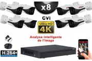 KIT PRO CVI 8 Caméras Tubes IR 40m 8 MegaPixels UHD 4K + Enregistreur CVI 8MP H264+ 3000 Go / Pack de vidéo surveillance