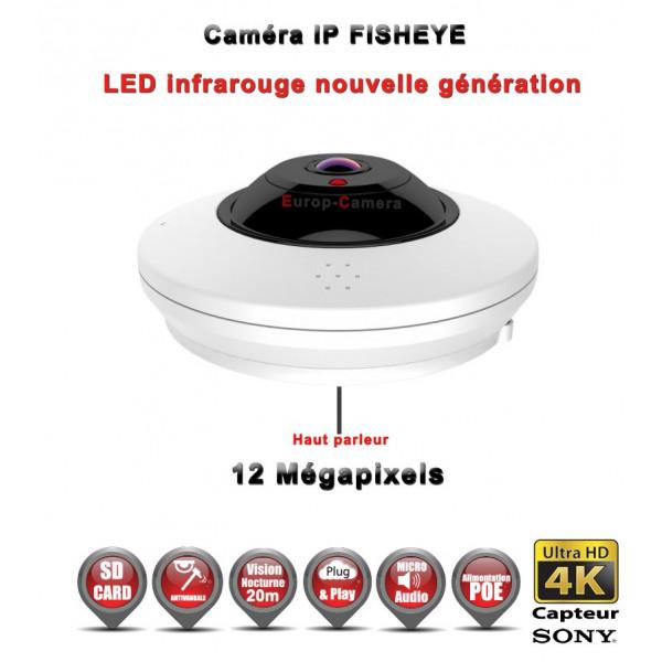 FISHEYE IP 360° Capteur SONY IR 20M POE ONVIF 12 MegaPixels / Ref : EC-FISHEYE12MP - Caméra de vidéo surveillance IP