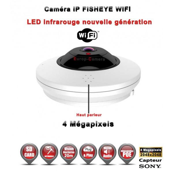 FISHEYE IP 360° Capteur SONY IR 20M POE & WIFI ONVIF 4 MegaPixels / Ref : EC-FISHEYE4MP - Caméra de vidéo surveillance IP