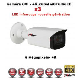 Tube CVI Anti-vandal 8 MegaPixels UHD 4K DAHUA IR 80m Zoom motorisée X3 étanche - caméra surveillance