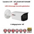 Tube CVI Anti-vandal 8 MegaPixels UHD 4K DAHUA IR 80m Zoom motorisée X3 étanche réf: EC-CVI4K80AZ - caméra surveillance
