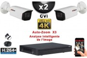 KIT PRO CVI 2 Caméras Tubes AUTOZOOM X3 IR 80m 8 MP UHD 4K + Enregistreur CVI 8MP H264+ 1000 Go / Pack de vidéo surveillance