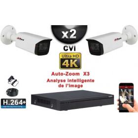 KIT PRO CVI 2 Caméras Tubes AUTOZOOM X3 IR 80m 8 MP UHD 4K + Enregistreur CVI 8MP H265+ 1000 Go / Pack de vidéo surveillance