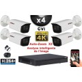 KIT PRO CVI 4 Caméras Tubes AUTOZOOM X3 IR 80m 8MP UHD 4K + Enregistreur CVI 8MP H265+ 2000 Go / Pack de vidéo surveillance