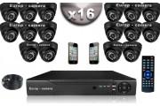KIT CONFORT 16 Caméras Dômes 700 TVL + Enregistreur DVR 2000 Go / Pack de vidéo surveillance