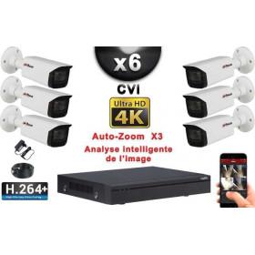 KIT PRO CVI 6 Caméras Tubes AUTOZOOM X3 IR 80m 8MP UHD 4K + Enregistreur CVI 8MP H264+ 2000 Go / Pack de vidéo surveillance