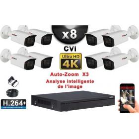 KIT PRO CVI 8 Caméras Tubes AUTOZOOM X3 IR 80m 8MP UHD 4K + Enregistreur CVI 8MP H264+ 3000 Go / Pack de vidéo surveillance