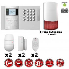 Système d'alarme PRO sans fil GSM + RTC 868 mhz immunité animaux 25 kg + Sirène Flash exterieur - intérieur autonome MFprotect