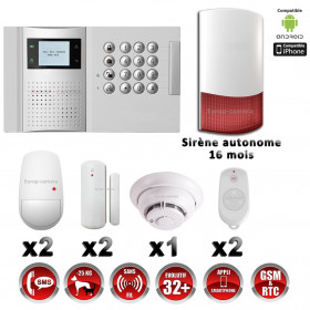 Système d'alarme PRO sans fil GSM + RTC 868 mhz immunité animaux 25 kg + Sirène Flash autonome + détecteur de fumée MFprotect