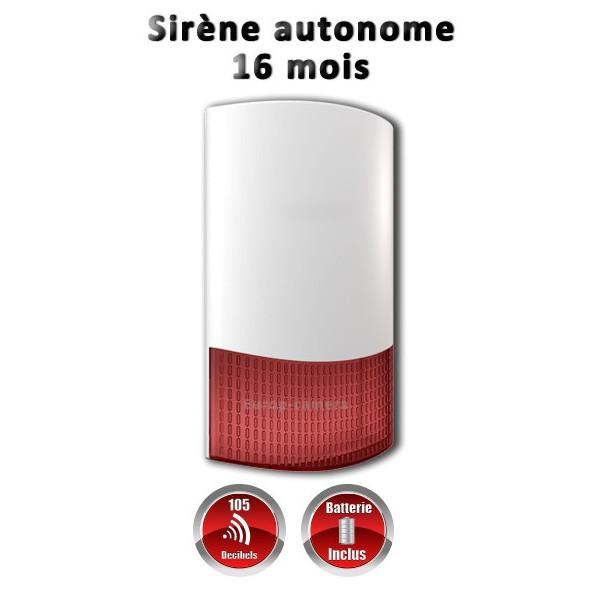 Sirène extérieure ou intérieure flash sans fil 868 mhz autonome avec batterie 16 mois MFprotect
