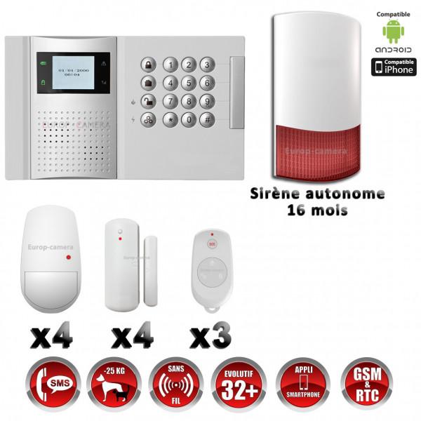Système d'alarme PRO sans fil GSM + RTC 868 mhz immunité animaux 25 kg + Sirène Flash extérieure - intérieure autonome MFprotect