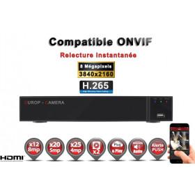 Enregistreur numérique NVR réseau 25 canaux H264+ / H265+ IP ONVIF UHD 4K 5MP 3MP 1080P FULL HD / Ref : EC-NVR25H265C2