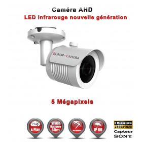 Tube AHD / CVI / TVI Capteur SONY 5 MegaPixels IR 30m étanche réf: EC-AHDC20B4MPS - caméra surveillance
