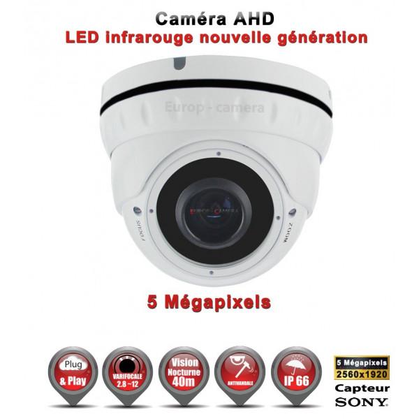 Dôme AHD / CVI / TVI Capteur SONY 5 MegaPixels IR IR 35m étanche réf: EC-AHDD304BMPS - caméra vidéo surveillance