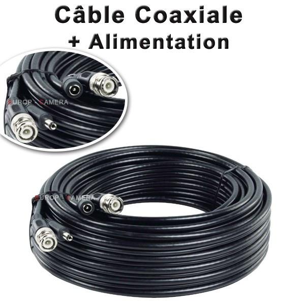 Câble BNC vidéo + alimentation 12V de 20m