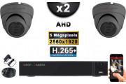 KIT PRO AHD 2 Caméras Dômes IR 20m Capteur SONY 5 MegaPixels + Enregistreur XVR 5MP H264+ 1000 Go / Pack de vidéo surveillance