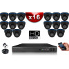 KIT ECO AHD : 16 Caméras Dômes CMOS HD 720P + Enregistreur XVR H265+ 2000 Go / Pack de vidéo surveillance