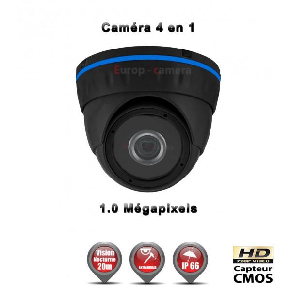 Mini Dôme 4 en 1 Anti-vandal : HD 720P 1MP CMOS IR 20m / Ref : EC-AHDD4i1 Noir - Caméra de Vidéo surveillance