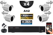 KIT PRO AHD 4 Caméras Tubes IR 30m Capteur SONY 5 MegaPixels + Enregistreur XVR 5MP H264+ 2000 Go / Pack de vidéo surveillance