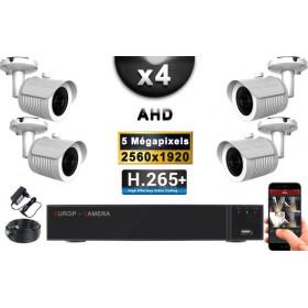KIT PRO AHD 4 Caméras Tubes IR 30m Capteur SONY 5 MegaPixels + Enregistreur XVR 8MP H265+ 2000 Go / Pack de vidéo surveillance