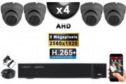 KIT PRO AHD 4 Caméras Dômes IR 20m Capteur SONY 5 MegaPixels + Enregistreur XVR 5MP H264+ 2000 Go / Pack de vidéo surveillance
