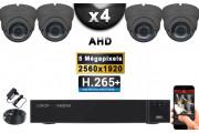 KIT PRO AHD 4 Caméras Dômes IR 35m Capteur SONY 5 MegaPixels + Enregistreur XVR 5MP H264+ 2000 Go / Pack de vidéo surveillance