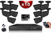 KIT ECO AHD : 10 Caméras Tubes CMOS HD 720P + Enregistreur DVR AHD 1000 Go / Pack de vidéo surveillance