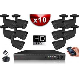 KIT ECO AHD : 10 Caméras Tubes CMOS HD 720P + Enregistreur XVR H265+ 1000 Go / Pack de vidéo surveillance