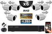 KIT PRO AHD 6 Caméras Tubes IR 30m Capteur SONY 5 MegaPixels + Enregistreur XVR 8MP H265+ 2000 Go / Pack de vidéo surveillance