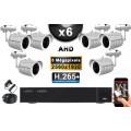 KIT PRO AHD 6 Caméras Tubes IR 30m Capteur SONY 5 MegaPixels + Enregistreur XVR 5MP H264+ 2000 Go / Pack de vidéo surveillance